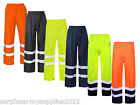 MENS HI VIS WATERPROOF TROUSERS OUTDOOR HI VIZ OVERTROUSERS WORKWEAR SAFETY