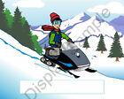 Snowmobile Lover Male Toon Character Personalized Matted Print 11 x 14