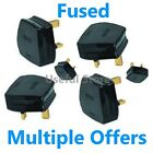 Black 13A Amp Mains Electrical Plug Fuse fitted 3 PIN Appliance UK Power Socket