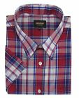 Metaphor Mens Poly Cotton Checked SS Shirt (14321) in Red/Navy