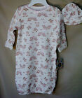 LITTLE ME 100% CottonWhite Gown w/Sweet OWL Print & Matching Hat SIZE 0-3M  NWT