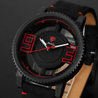 Shark Mens Leather Quartz Analog Wrist Watch Hollowed Dial Sport Stainless Steel
