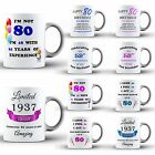80th Happy Birthday Celebration Present Coffee MUG Cup Coaster Set Novelty Gift