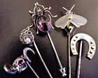 ANTIQUE VINTAGE Silver Spider Fly Skull Horseshoe Maiden Hat STICK PIN Stickpin