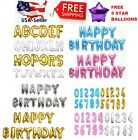 """16""""/30"""" Gloss Large Foil Letter Number Happy Birthday Balloons+FreeBalloons"""