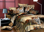 3D Duvet/Quilt Cover Pillowcase Bed Set Queen King Brown Tiger Ousr