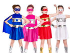 Superhero Outfit Girls Fancy Dress Super Hero Girl Costume 5 Colours Age 3-13