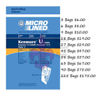 Sears Kenmore U Upright Vacuum Bags 5068, 50688, 50690, U, & O Microlined