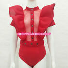 USA Women Ruffles Bodysuit Summer Hollow out Combinaison Rompers Short Mesh