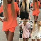 Women Fashion Casual Short Sleeve Backless Top+Shorts Set Jumpsuits Playsuits