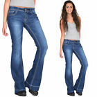 New Womens Low Rise Dark Blue Faded Bootcut Flared Stretch Jeans Denim Flares