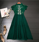 2017 occident green lace Stitching Space network slim ladies dress elegant clear