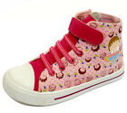 GIRLS PINK EASY ELASTIC LACE ZIP-UP CANVAS BASEBALL BOOTS PLIMSOLL PUMPS 10-3