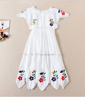 2017 occident short sleeve embroidery white refined elegant dress free shipping