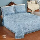 Blue Twin Botanical Chenille Bedspread with Fringe Border