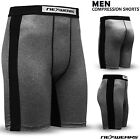 Mens Compression Shorts Base Layer Skin Tight Fit Gym Fitness Yoga Short Grey