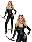 Cat Girl Cat Woman Faux Leather Jumpsuit Tail Superhero Fancy Dress Up Costume
