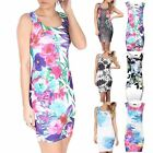 Ladies Womens Floral Pencil Bodycon Printed Summer Celebrity Tropical Mini Dress
