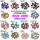 100p 6mm crystal Sew On glass cup Rhinestone Montees silver base Beads Craftses