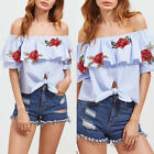 Women Summer Casual Short Sleeve Off Shoulder Stripes Floral Blouse Tops T-Shirt