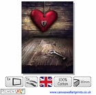 LARGE RED HEART LOVE ROMANTIC CANVAS - STRETCHED CANVAS WALL ART PRINTS PICTURES