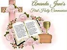FIRST COMMUNION Edible image cake topper decoration Round girl pink holy baptism