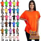 New Ladies Batwing Sleeve Plain Off The Shoulder Bardot Oversize T-Shirt MiniTop
