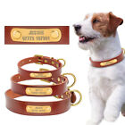 Genuine Leather Personalized Dog Collar ID Nameplate Free Engraved Custom Collar