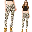 New Womens High Waist Jeans Slim Stretch Skinny Army Camouflage Trousers Pants
