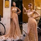 Champagne Sheer Sexy Lace Wedding Dresses Beads Pearls Long Sleeve Bridal Gowns