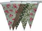 Green vintage floral single sided bunting - wedding birthday party decoration