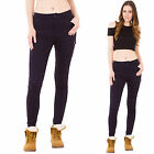 New Womens Dark Blue High Rise Slim Skinny Stretch Combat Trousers Cargo Pants
