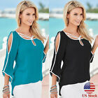 Women Cold Shoulder Blouse 3/4 Sleeve Loose Casual Summer Tops Tee Shirts S-xl