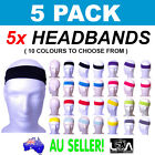 5 x PLAIN HEADBAND Elastic Stretch Sports Yoga Hair Band Unisex 6cm Polyester