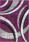 Purple Rug Carpet Mat Modern Design Abstract Design Grey Silver Thick Soft Pile