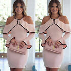 elegant clothing for women - Women Elegant Pink Flounce Flared Sleeve Short Dress Cocktail Party Evening Gown