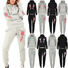 Ladies Floral Rose Embroidery Long Sleeve Pullover Hoodie Jogging Tracksuit 8-14