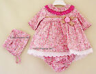BABY GIRLS SPANISH PINK FLORAL POLKA DOT COLLAR DRESS PANTS BONNET SET 0 3 6 12