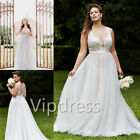 Chiffon Wedding Dresses Sheer Neck Sleeveless Lace Applique Bridal Gowns Custom