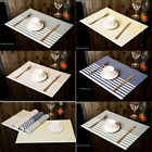Set of 6 Placemats Stripe Bowl Kitchen Dining Room Pad Western PVC Table Mats
