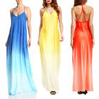 New Womens V Neck Backless Sleeveless Party Evening Casual Loose Maxi Long Dress