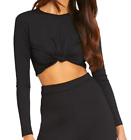 New Ladies Girls Shape Black Slinky Knot Front Crop Top By Pretty Little Thing