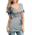Sinful by Affliction STAINGLASS Short Sleeve V-neck Tee T-shirt S2750