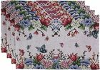 """Set of 4, Printed Decorative Floral Design Tapestry Placemats Size : 13"""" x 19""""."""