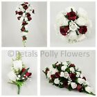 Silk Wedding Flowers by Petals Polly, BOUQUET POSY BUTTONHOLE in BURGUNDY WHITE