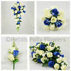 Silk Wedding Flowers by Petals Polly, BOUQUET POSY BUTTONHOLES in ROYAL BLUE