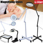 Magnifying Lamp 5X Illuminated Light Glass Lens Desk Clip/Floor Stand Magnifier