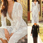 Celeb Womens Ladies Lace Up Floral Sheer V Neck Party Evening Long Maxi Dress