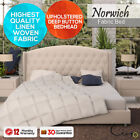 French Provincial Queen King Wing Fabric Bedroom Furniture Upholstered Bed Frame