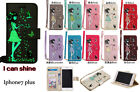 10pc/lot Luminous Girl Cat Wallet PU Leather Case w Lanyard For iPhone 5/6/6P/7P